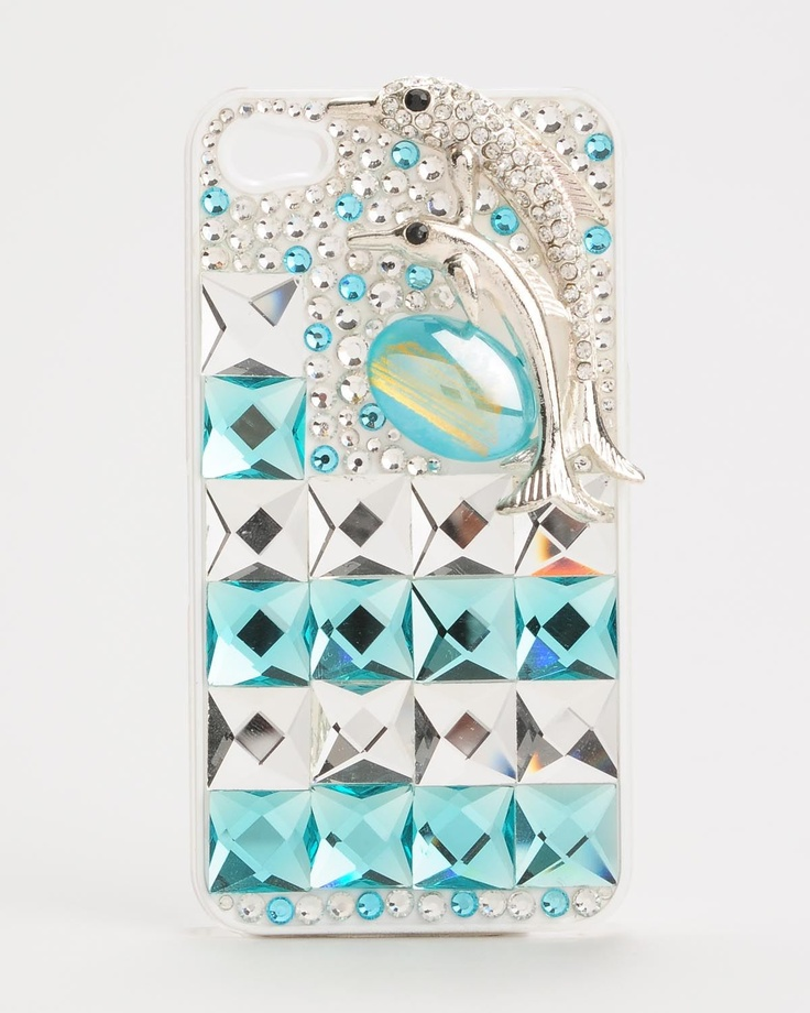 Product Name Two-Color Bejeweled Dolphin iPhone Case at Modnique.com