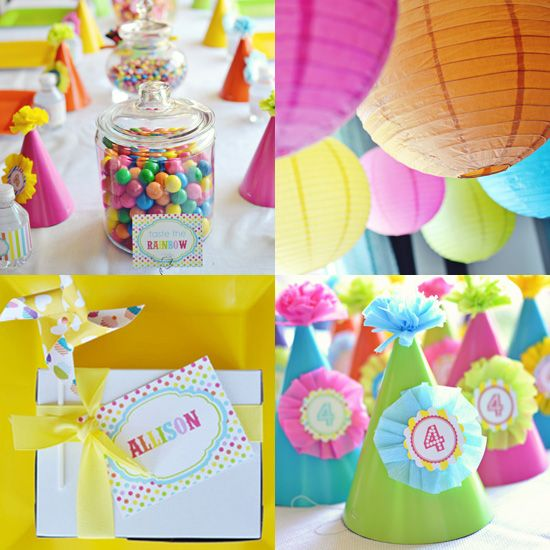 A Rainbow Birthday Party: Perfect for a girl or a boy, a rainbow birthday party is easy to plan and execute! Colorful decorative items — like paper lanterns and polka-dot pinwheels — and one-of-a-kind party hats make this party extra cheerful.  Source: Belva June
