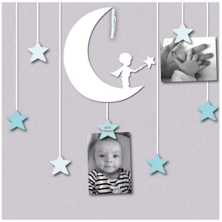 Ce joli pêle-mêle 7 vues de la collection Petit garçon par Titoutam est agrémenté d'étoiles en relief, pour y accrocher des souvenirs et des mots doux. Dans les tons bleus, il peut être offert à Bébé dans le cadre d'un cadeau de naissance ou de baptême.