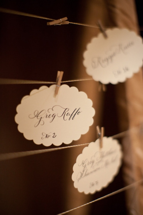 wedding table name card size%0A seating cards hung from a vintage frame