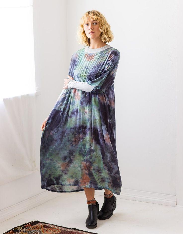 Tie dye dress in silk / cotton