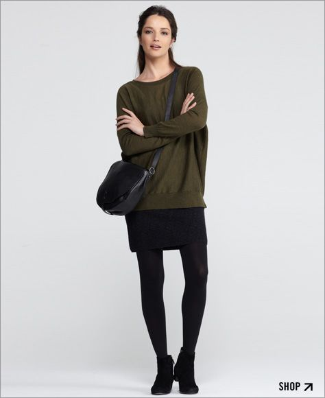 Eileen Fisher - love a short skirt, tights and boots
