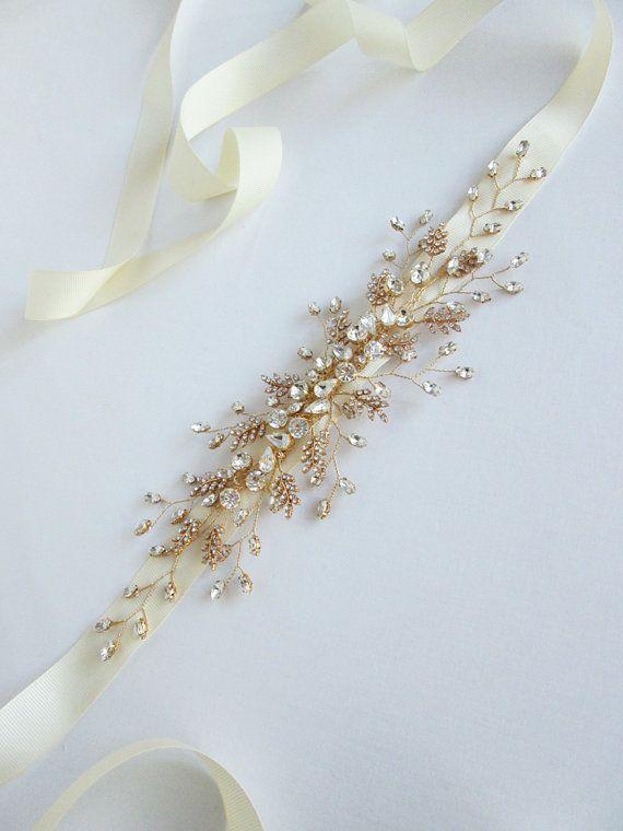 Bridal crystal belt sash Bridal belt with by SabinaKWdesign