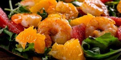 Crevettes à l'orange en salade