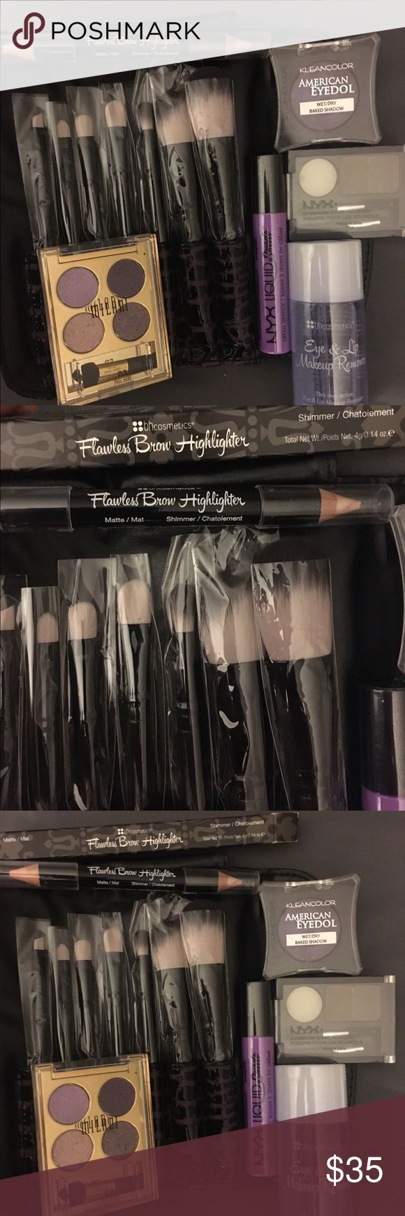7pc makeup bundle- Priced fair! All brand new! Includes: 7pc BH Cosmetics Brushes ($15), 1 BH cosmetics duo flawless brow highlighter (matte and shimmer) ($6.50), NYX Liquid Suede cream lipstick shade sway ($7.00) 2.7 fl oz BH Cosmetics Eye and Lip Makeup remover ($5.50), NYX eyebrow cake powder shade Taupe ($5.99), Milani Fierce Foil Eyeshine eyeshadow shade #02 Rome ($10.49) KleanColor American Eyedol wet/dry baked Shadow ($4.80) Total retail is $55.28 without shipping fee or in-store tax…