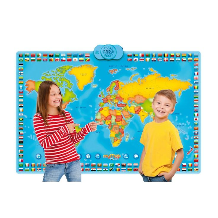 - Have fun learning the world's continents and countries with this great Interactive World Map. - 1,000 facts and questions about the countries of the world. - 78 interactive countries - the child presses on the country to find out its name and detailed facts like capital, language spoken, flag. - Features 2 levels of quizzes depending on the child's age and a challenge mode for 2 players. - Can be hung on the wall or laid out on the floor.