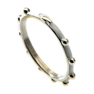 Rosenkranz Ring MATER Silber 925 und weißen Emaillack