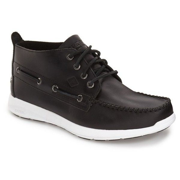 Men's Sperry Sojourn Moc Toe Boot ($110) ❤ liked on Polyvore featuring men's fashion, men's shoes, men's boots, black rubber, mens lace up boots, sperry mens shoes, mens boots, mens lace up shoes and mens shoes