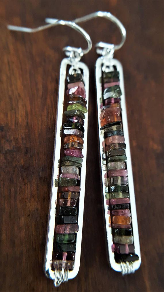 Tourmaline And Sterling Silver Earrings Multi Color Earrings