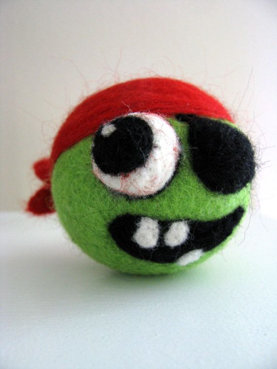 Needle Felted Pirate Zombie  Made to Order by SheWhoStamps on Etsy, $25.00