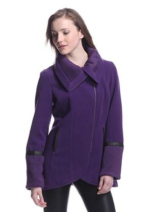 Katherine Barclay Women's Coat with Faux Leather Trim (Purple)