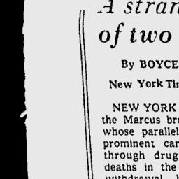 story of Stewart and Cyril Marcus - Stewart and Cyril Marcus were identical twin gynecologists who practiced together in New York City. On July 19, 1975, they were found dead due to withdrawal from barbiturate addiction in their Manhattan apartment at 450 East 63rd Street. Film director David Cronenberg drew on elements from the biography of the Marcus brothers for his 1988 movie Dead Ringers, in particular their decline and their death.