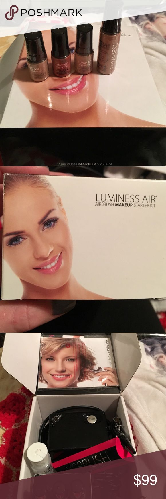 Luminess air brush makeup set like new. Luminess air brush makeup set like new. Only used once. Comes with foundation, blush, eye shadow and primer. Comes with air brush machine, charger, directions and cleaning bottle. Makeup Brushes & Tools