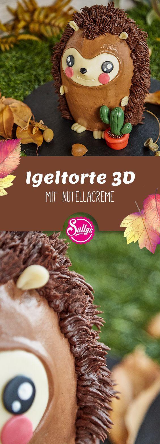 Diese süße Igel-Torte wird aus einer Nuss-Nougat-Torte mit süßem Zahnfleisch gebacken …   – Dekoideen für  Torten und Gebäck