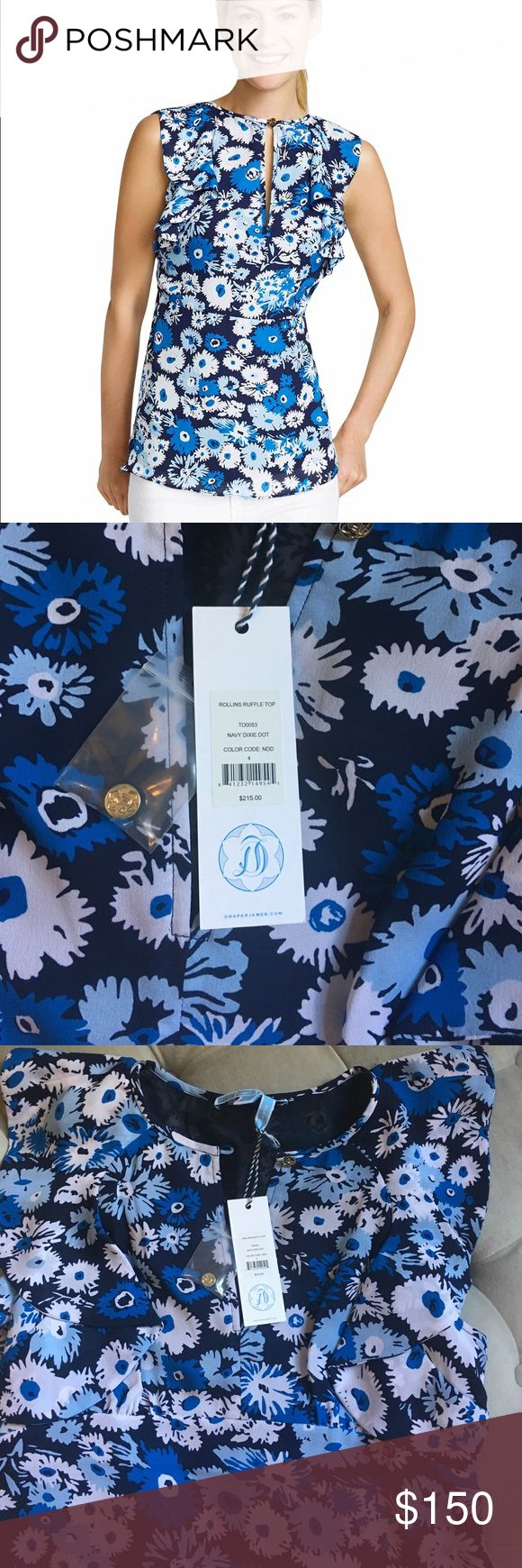 NWT Draper James Rollins Ruffle Top Brand new with tags Rollins Ruffle Top in Navy Dixie Dot by Draper James. Draper James Tops