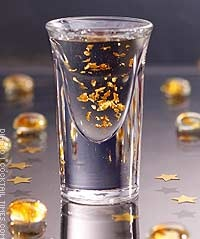 Goldschlager shots ... mixed with red bull they make 'glitter bombs' :) yummy
