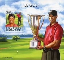 Central African Republic 2015 MNH Golf 1v S/S Tiger Woods Sports Trophy Stamps