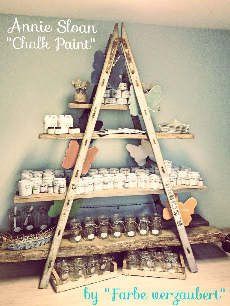 Shop Displays •~• wooden a-frame ladder + boards as shelves