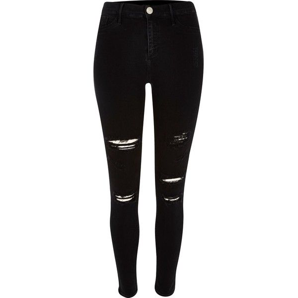 Black super ripped Molly jeggings found on Polyvore featuring pants, jeans, ripped jeggings, distressed pants, denim jeggings, ripped pants and skinny fit pants