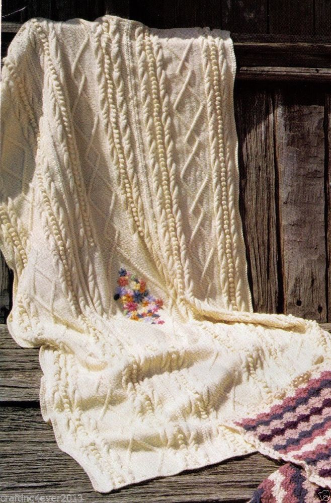 ARAN KNEE RUG BLANKET WITH EMBROIDERY - 170 CM X 120 CM - 8PLY KNITTING PATTERN