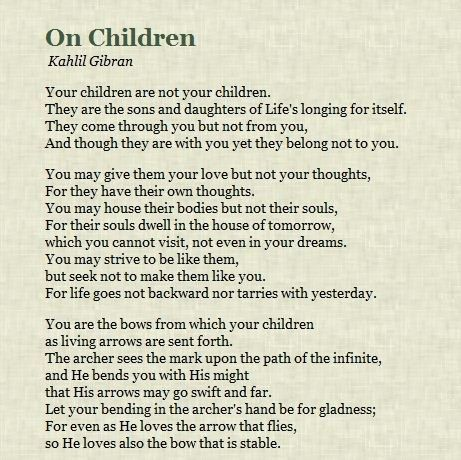 Kahlil Gibran.  Sermon I used for my kids baptisms! My favorite author to draw from.