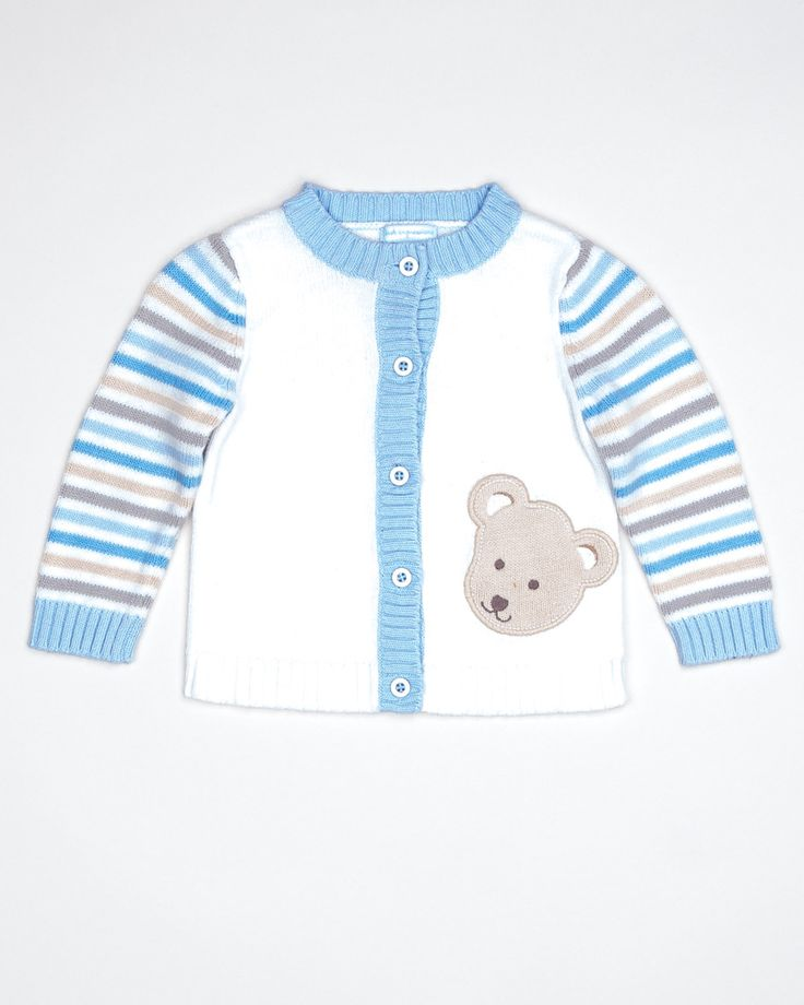 White cardigan sweater with blue trim and earth tone stripes on sleeves, ribbed trim and bear applique. Color: White Material: 100% Cotton Condition: Like New Item #: A1202457