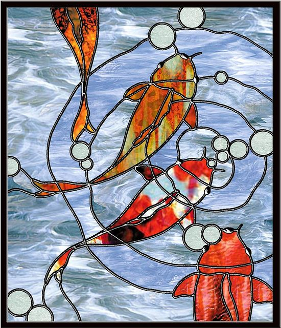 52 best stained glass fish koi images on pinterest for Koi pond glass