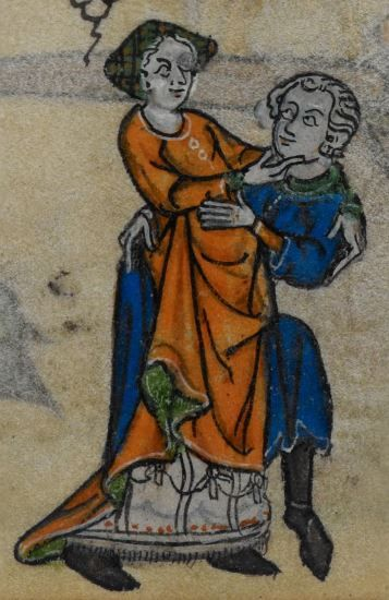 Detail from medieval manuscript, British Library Stowe MS 17 'The Maastricht Hours', f143r
