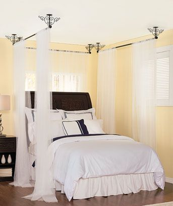 handing drapperies from the ceiling | Details about 3 CEILING MOUNT CURTAIN RODS CANOPY BED