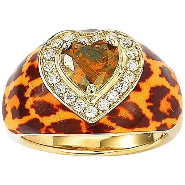 Suzy Levian Gold over Silver Brown Cubic Zirconia Animal Print Ring ($139) ❤ liked on Polyvore featuring jewelry, rings, black, wide-band rings, silver cubic zirconia rings, two tone gold rings, heart ring and wide silver ring