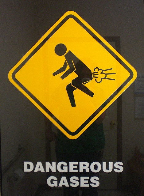 I found this on flickr and its label says it was a funny sign doctor's bathroom. LOL
