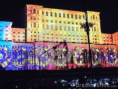 The lights projected onto the Parliament Palace in Bucharest iMapp 2015 festival.