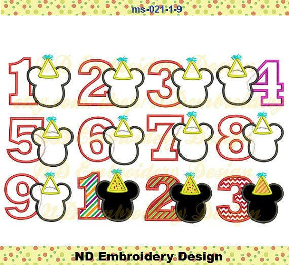 Mickey Mouse Birthday Applique Design Set  Number 1