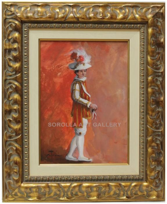 Jose Antonio Borrás : Seise. Medium: Oil on wood Measurements (cm): 52x43 Canvas measurements (cm): 33x24 Interior frame: Yes. Beautiful impressionist painting of a dancing child of the Cathedral of Seville. Beatifully coloured with a bright palette. $296.23