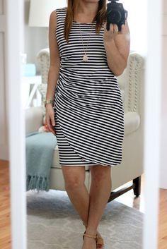 Market & Spruce Carl Ruched Knit Striped Dress #stitchfix I love stripes…