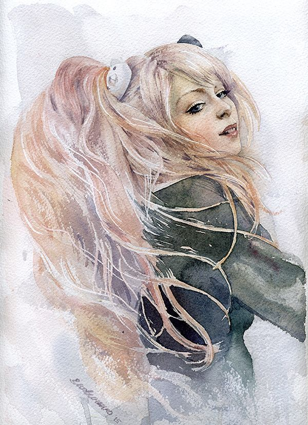 Ekaterina Logvinenko. 2015. Portrait of Yuriko Tiger. #Fashion #Illustrations #watercolor #акварель