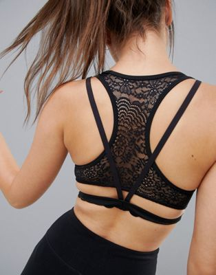 c490fc8f615 Image 1 of ASOS 4505 Laser Cut Sports Bra With Lace And Strap Back Detail