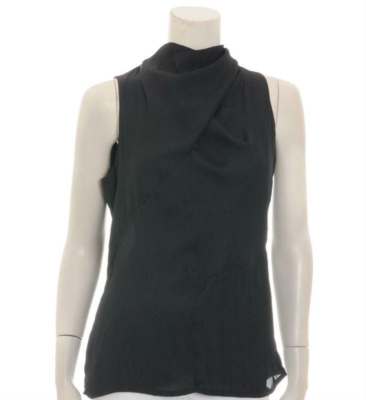 Summum topje / singlet met opstaand kraagje voorzien van strik aan de achterzijde, decoratieve naden en a symmetrisch accent aan de voorzijde - Zwart - NummerZestien.eu