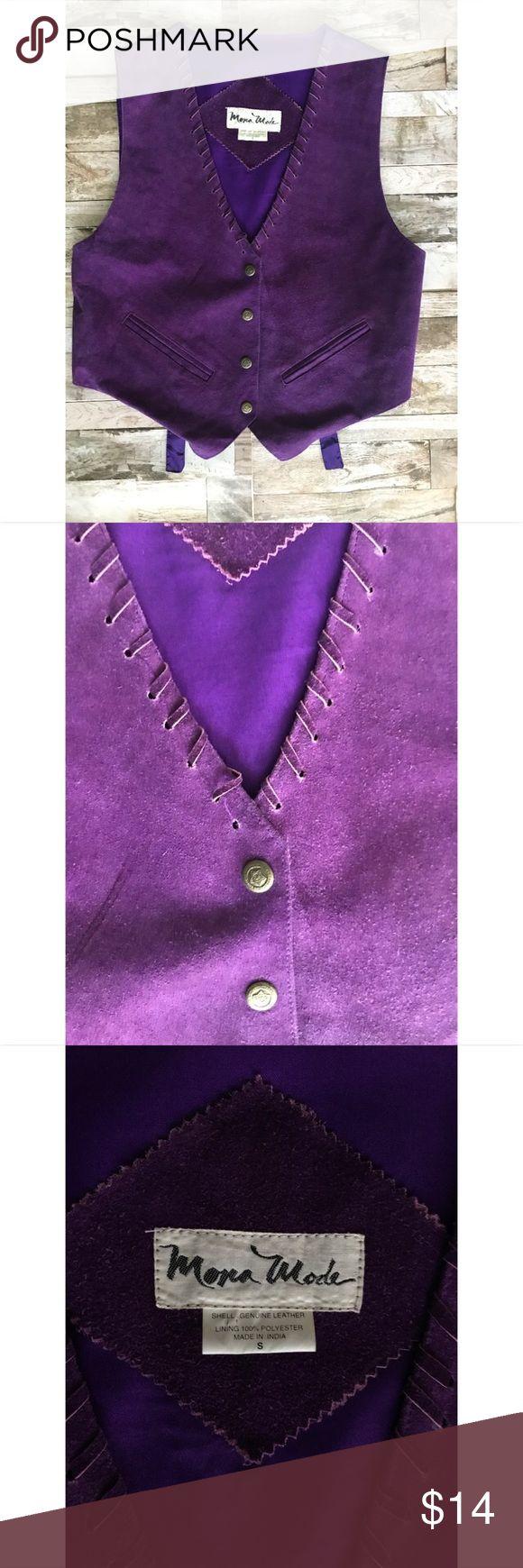 Mona Mode Genuine Leather Purple Vest Sz S Mona Mode Genuine Leather Purple Vest Sz S Mona Mode Jackets & Coats Vests
