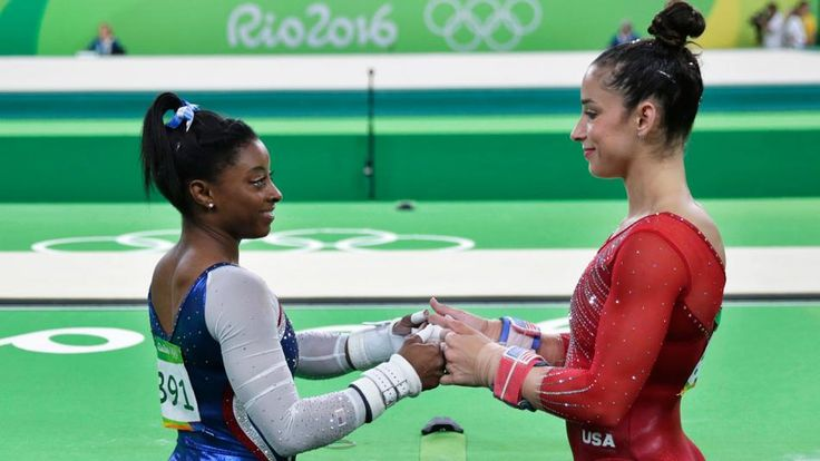 Simone Biles and Aly Raisman in the women's gymnastics all-around final at the 2016 Rio Olympics