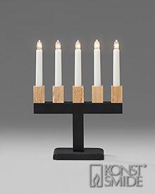 Om Konstsmide Black Candlestick, Oak Holders2558-701EE