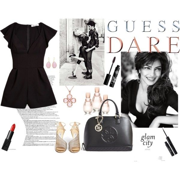 Heat Up Your Valentine's Day with GUESS DARE: Contest Entry by malirybka1989 on Polyvore featuring GUESS, Jimmy Choo, Allurez, Ice, Stila, Rouge Bunny Rouge and NARS Cosmetics