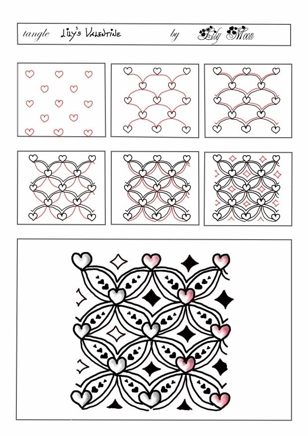 Lily's Valentine by Lily Moon; Lily's Zentangle: február 2014  Love the little hearts!