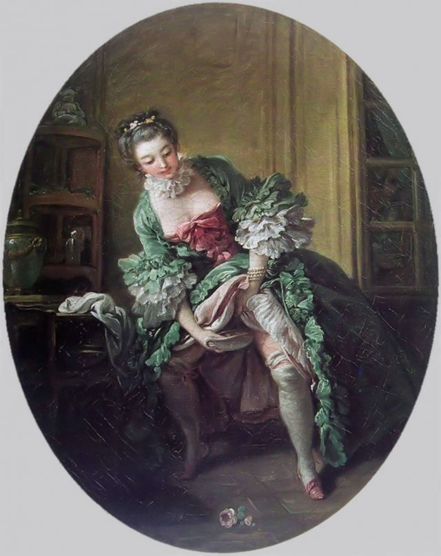 Lady privately relieving herself into a bourdaloue,Francois Boucher. This scene was common throughout the 18th & 19th centuries. Read more at the website.