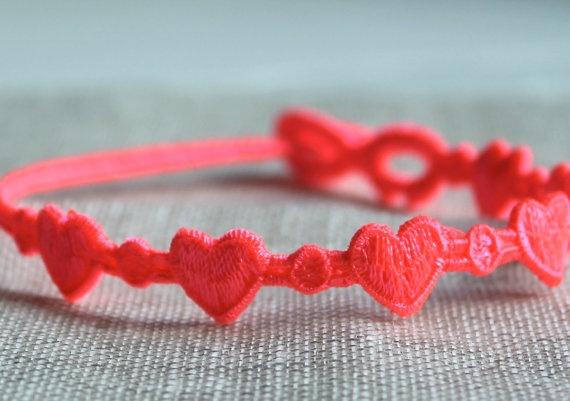 Macrame Heart Bracelets, Cruciani Bracelet, Choice of Neon Pink, Aqua, Blush and Silver, Wrist or Anklets via Etsy