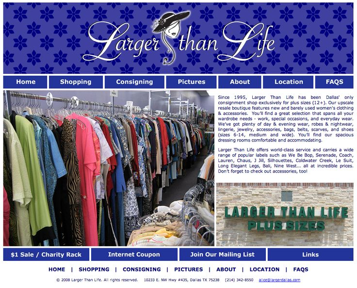 Web 1.0 Site Design for Larger Dallas a Consignment Store that caters to Plus Size Women.