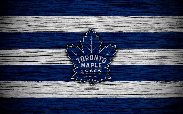 Herunterladen hintergrundbild toronto maple leafs, 4k, nhl, hockey-club, eastern conference, usa, logo, holz-textur, hockey, atlantic division