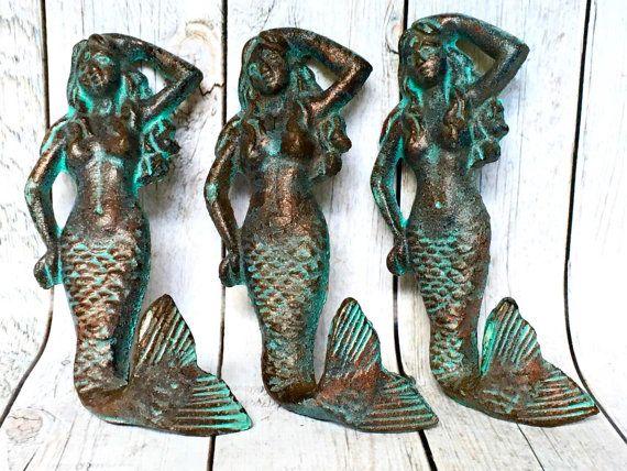 Cast Iron Mermaid Decor  Set of 3  Mermaid by ShineBoxPrimitives