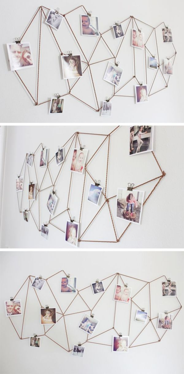 Totalement FAN de ce porte photos hyper facile à faire et drôlement malin http://www.thecaldwellproject.com/blog/diy-geometric-photo-display