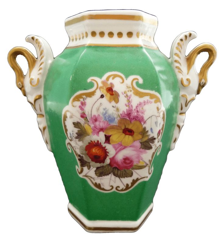 Chamberlain's Worcester, 1816-1830 チェンバレンズ ウースター スワン ハンドルの小さな花瓶 1816年−1830年頃